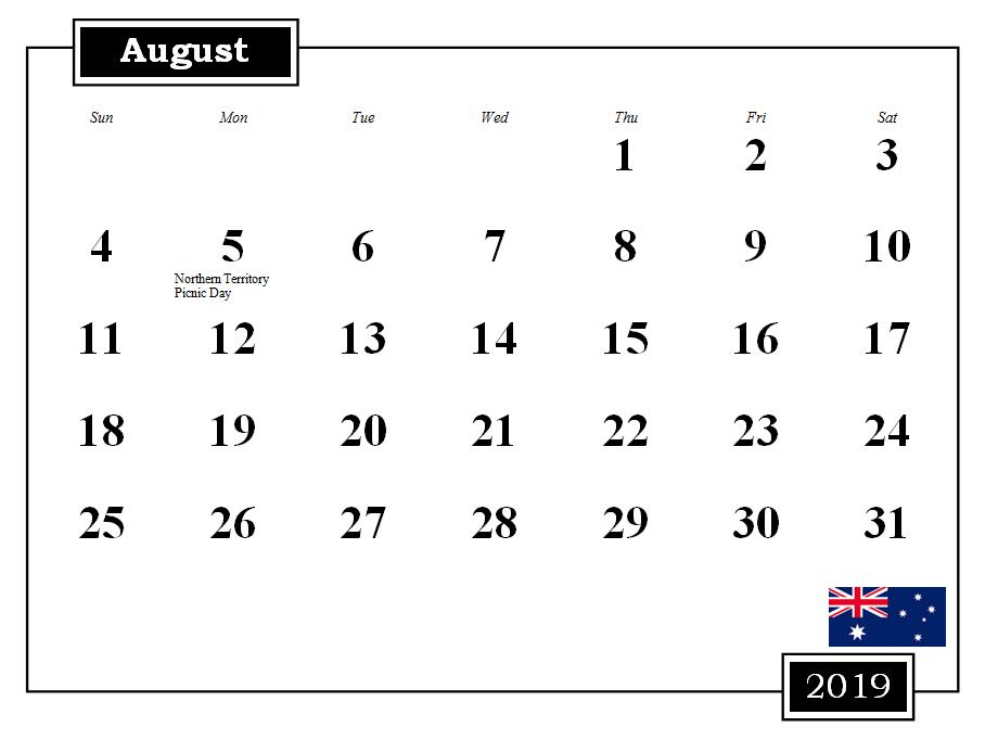 August 2019 Australia Calendar With Holidays #august #