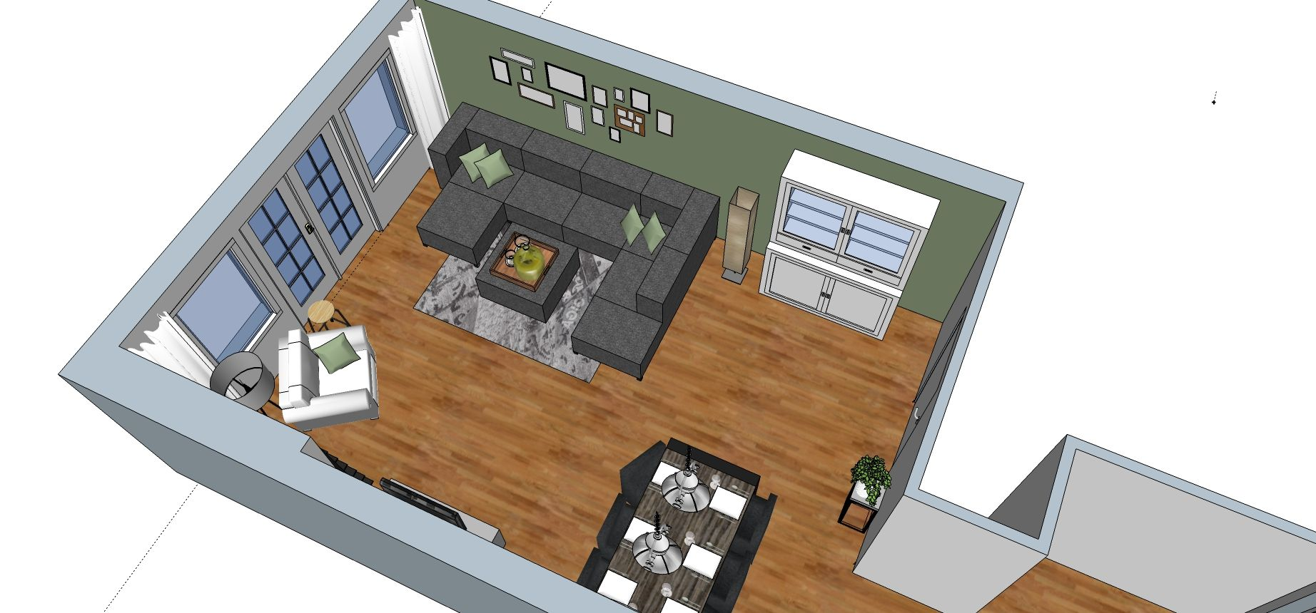 3D impressie | Sketchup | Interieuradvies | Woonkamer | Ontwerp by ...