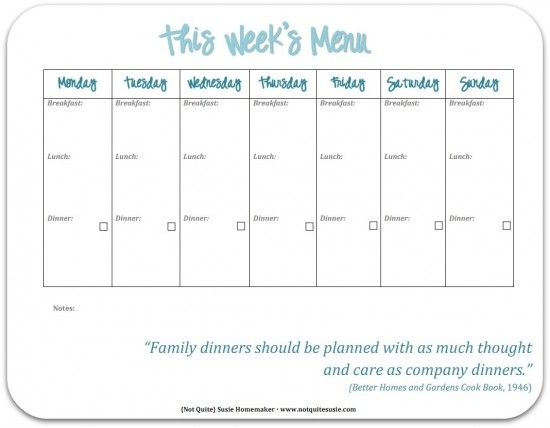 78 Best images about Planner – Free Weekly Menu Templates