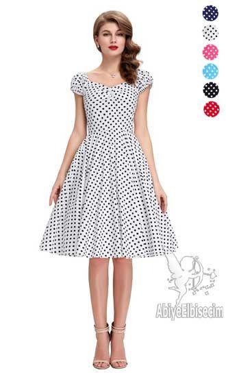Bayan Elbise Denizci Elbise Puantiyeli Elbise Elbiseler