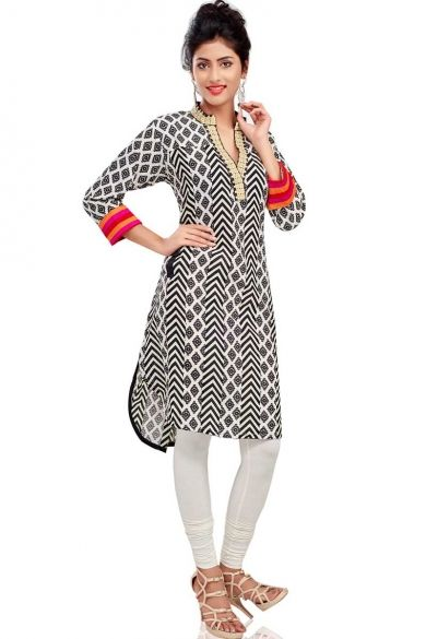 Black and White Cotton Printed Casual and #PartyKurti Sku Code:260-4505KT158733 $ 49.00  http://www.sareez.com/product_info.php?products_id=153207