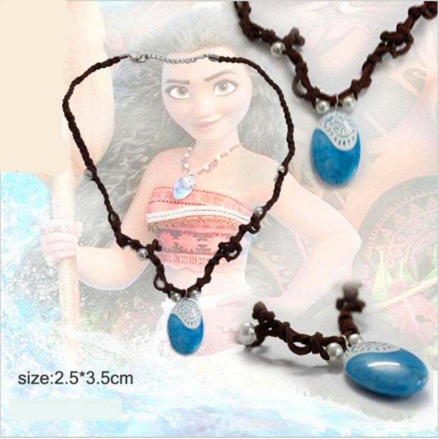 Moana Ocean Romance Rope Chain Necklaces Blue Stone Necklaces Princess Necklace Key Ring Movie Figures Action Toys Gift Costumes & Accessories Costume Props