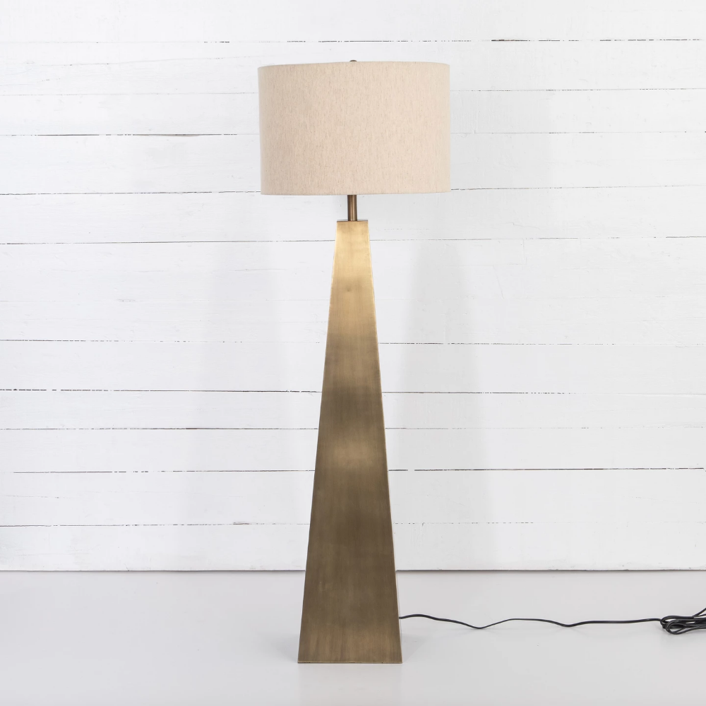 Bring A Tonal Touch To Any Room With The Leander Floor Lamp In Brass From Four Hands With A Pyramid Style Base Finished In Li Lamp Floor Lamp Brass Floor Lamp #touch #living #room #lamps