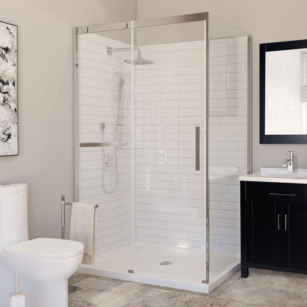 Ensemble De Douche 48 X 36 Avec Porte Et Base Pour Coin Gauche Shower Doors Corner Shower Kits Corner Shower