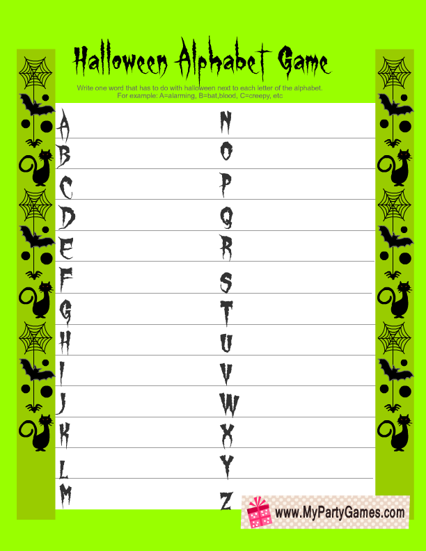 photograph regarding Free Printable Halloween Games for Adults named Absolutely free Printable Halloween Alphabet Video game within Environmentally friendly Coloration Cost-free