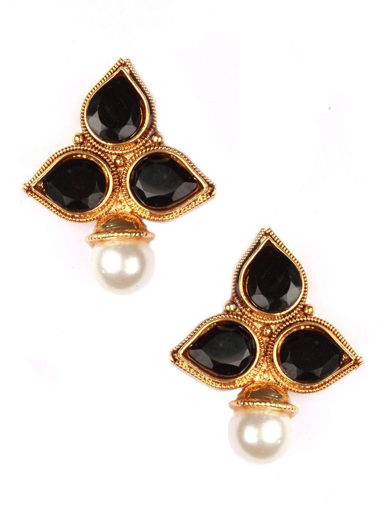 d75d949bf74 Indian Bollywood New Kundan Pearl Black Stone Gold Plated Stud Earrings  Jewelry  vidhijewelss  Stud