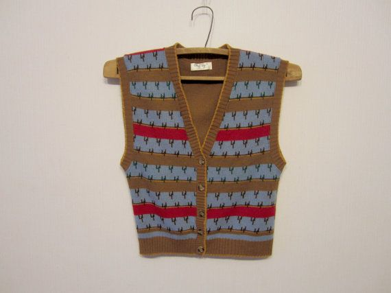 Striped Sweater Vest Brown Blue Red Button up Country Women Small ...