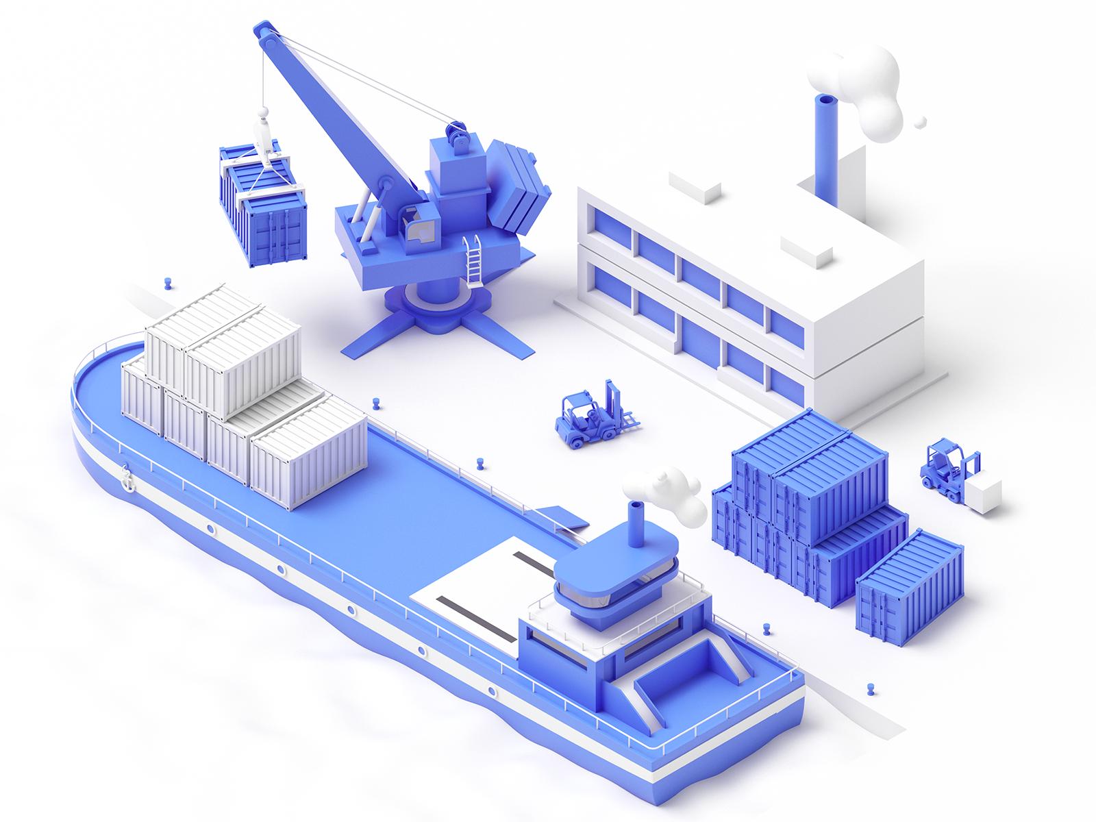 Shiploader in 2020 Isometric illustration, Isometric art