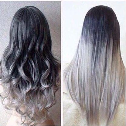 Cool grey ombré hair