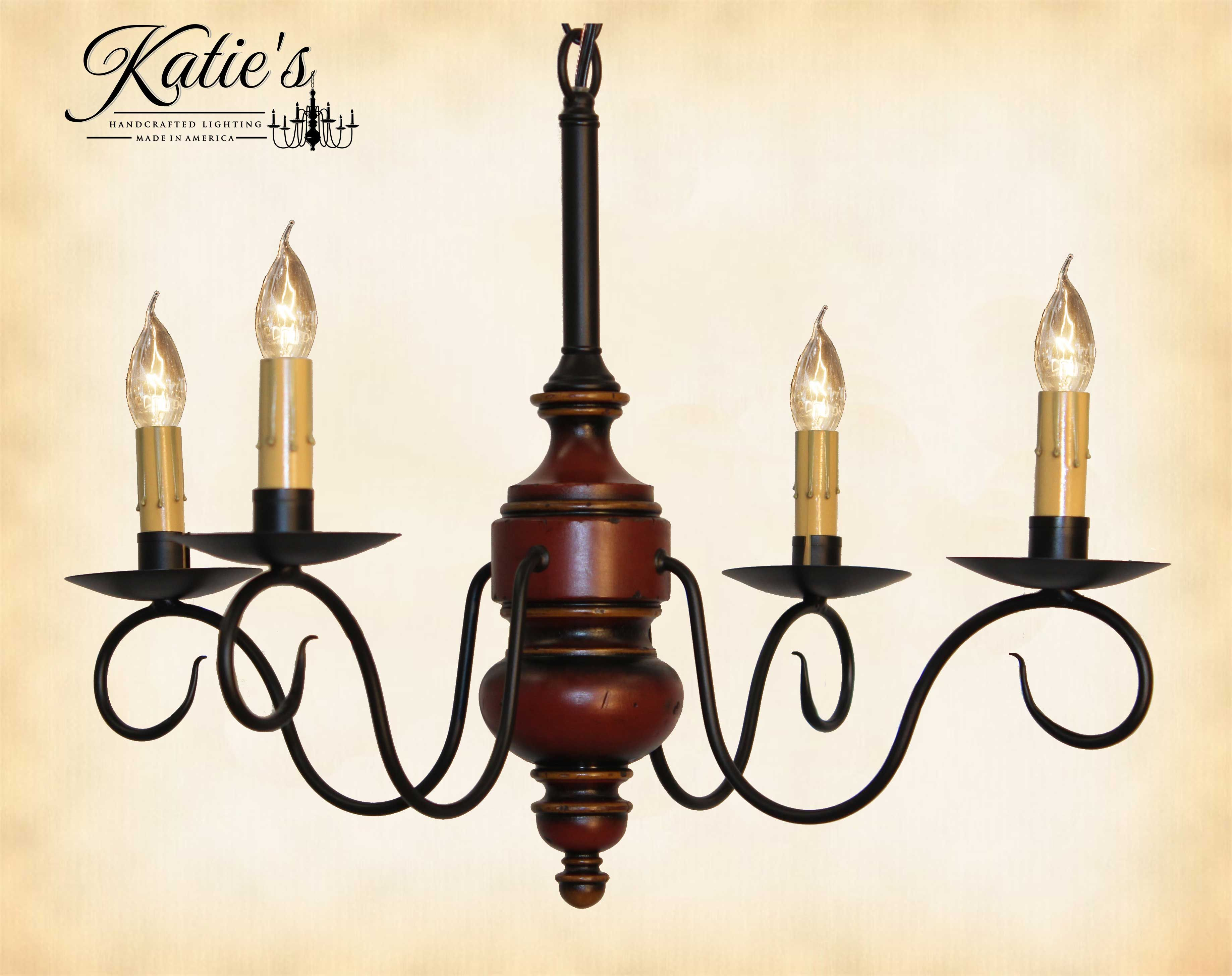 Queen Anne Mini Chandelier By Katie s Finished In Barn Red Black