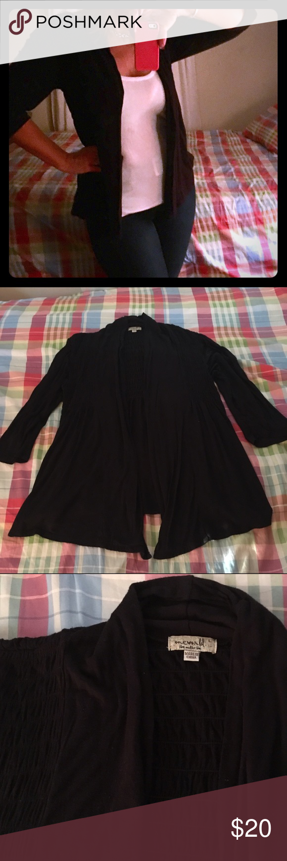 One World Black Elasticized Open Cardigan Super cute and flattering open black knit cardigan. Elasticized top and draped open front makes for a flattering fit. Excellent condition, only worn a time or two. Check out my other listings to bundle and save 25% 😎! ONE WORLD Sweaters Cardigans