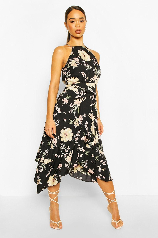 High Neck Ruffle Floral Midi Dress Boohoo In 2020 Floral Midi Dress High Neck Midi Dress Dresses