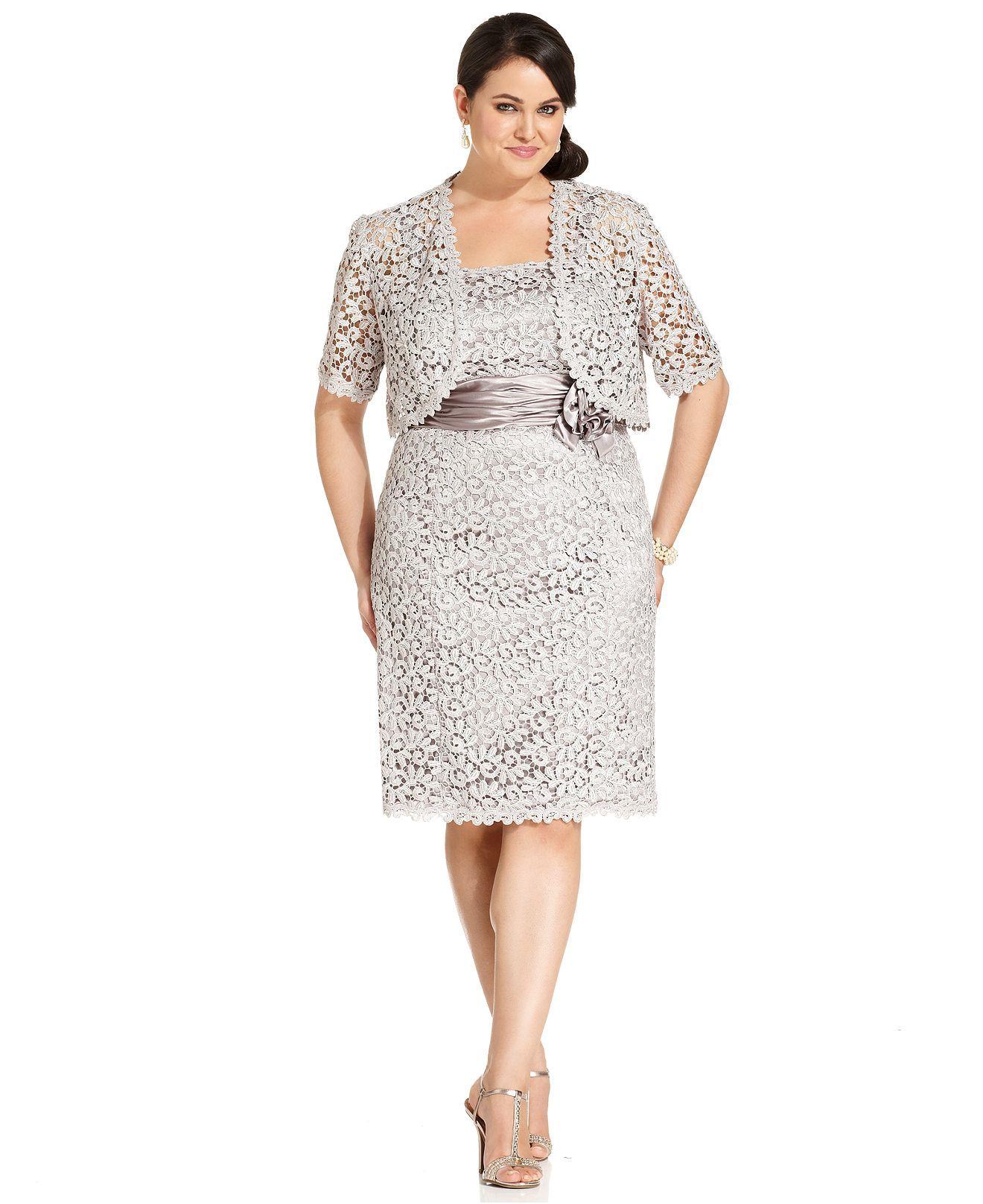 R Richards Plus Size Dress and Jacket, Sleeveless Crochet-Lace ...