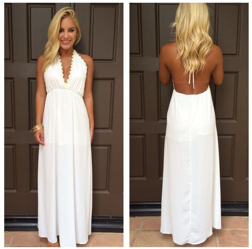 Peace Love Daisies Halter Maxi Dress | Women Fashion Style ...