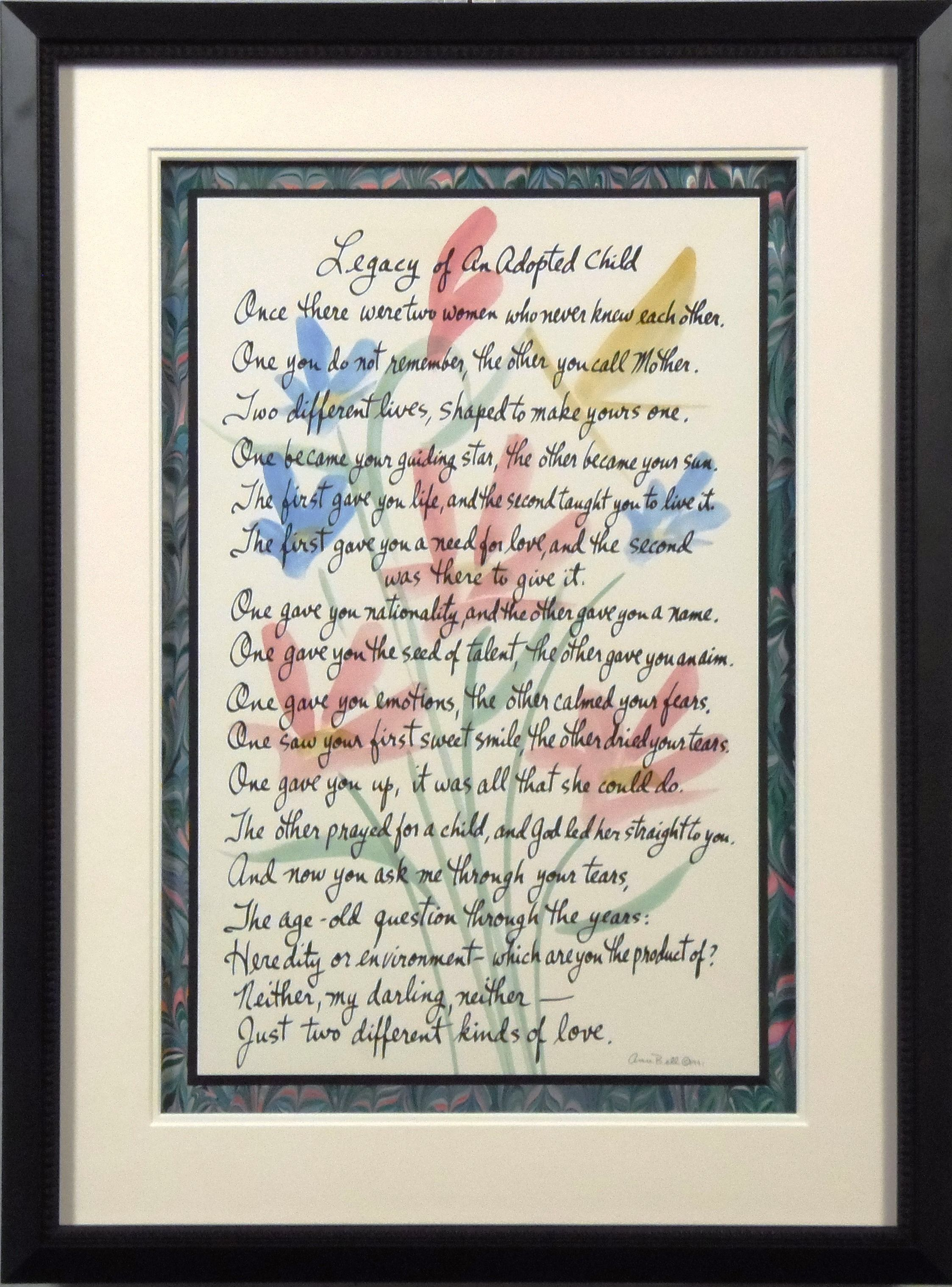 Poem floated over marble paper and matted @bradleyshouston