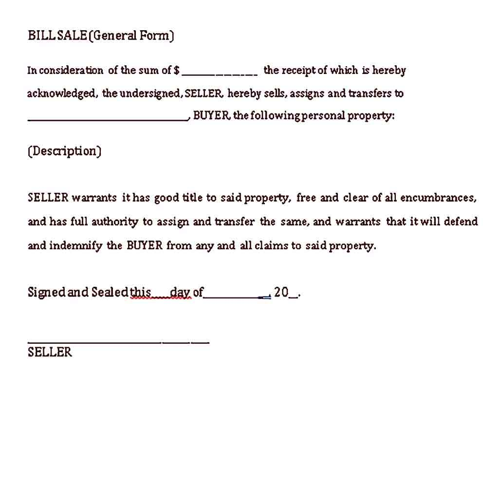 General Bill Of Sale Template Sample Bill Of Sale Template Templates Word Template