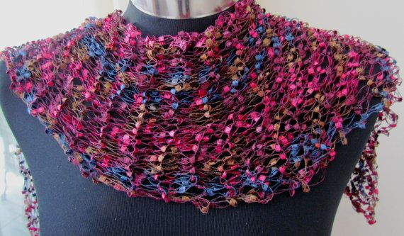 purple pink ladder yarn scarf for her hand knitted by ...