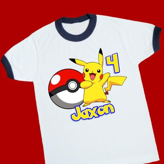e992706b3 Pikachu Birthday Shirt. Pokemon Personalized Birthday Ringer with Name and  Age   Etsy