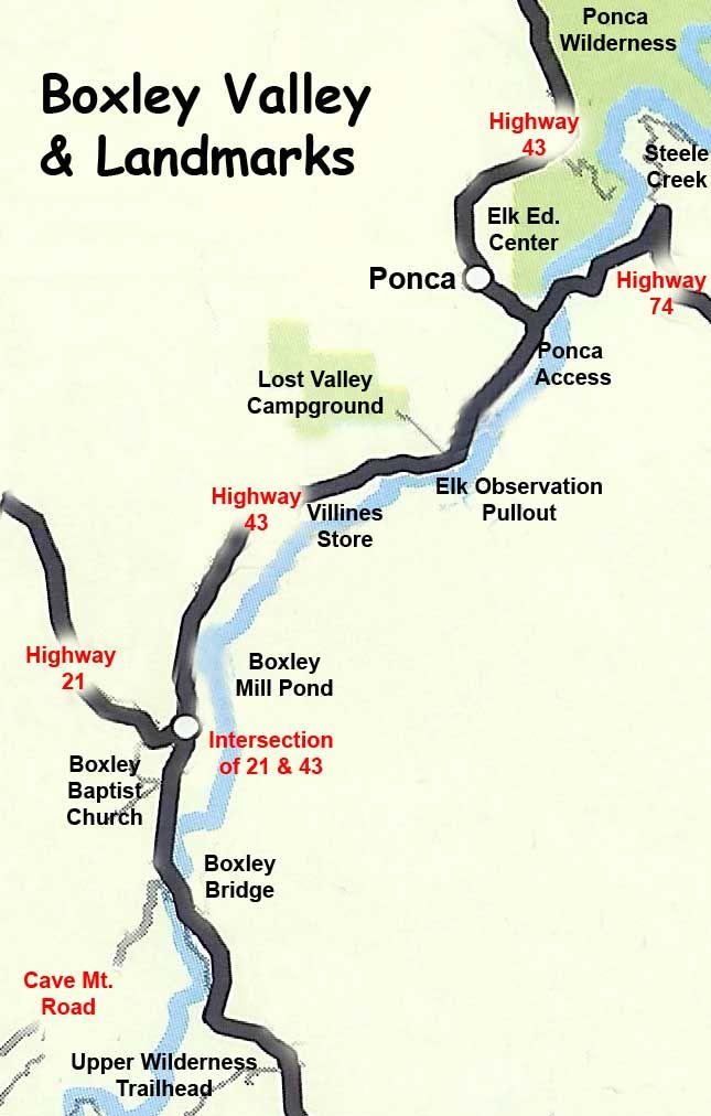Boxley Valley Arkansas Map.Boxley Valley Map Landmarks Arkansas Wildlife Photography