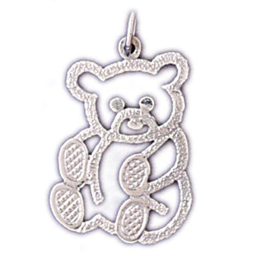14K WHITE GOLD ANIMAL CHARM - TEDDY BEAR #11112