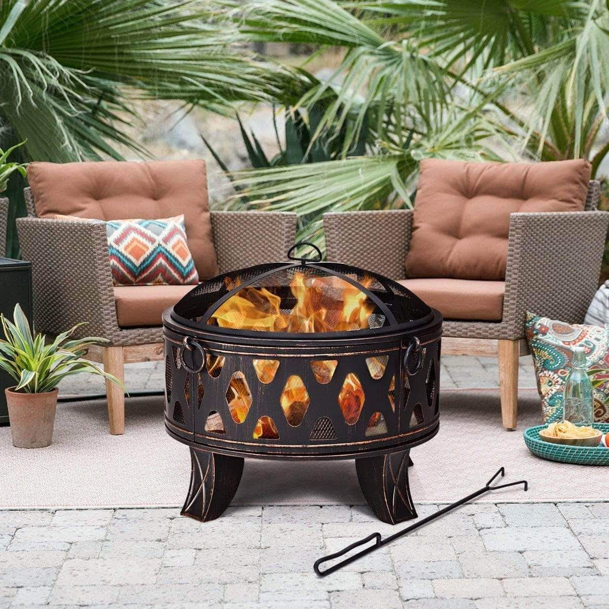"""28"""" Outdoor Fire Pit BBQ Portable Camping Firepit Heater"""