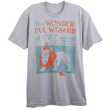 Art from the 1900 first-edition cover of the classic book by L. Frank Baum, distressed, softened, and printed on heather gray cotton-poly fashion tees. Men's/unisex and ladies' sizes S-XXL.