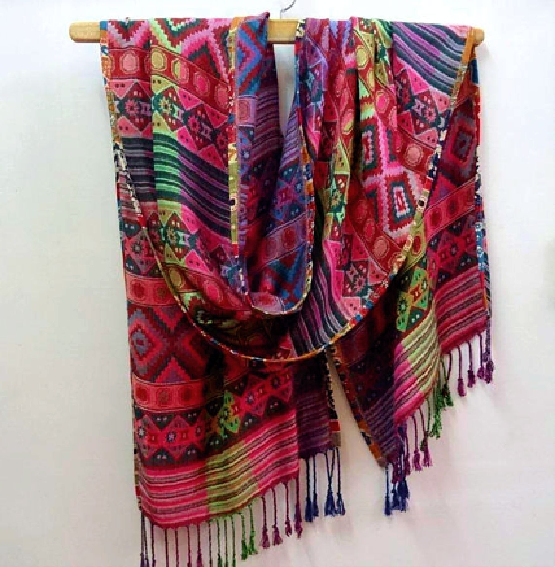 Rectangular Scarf In Viscose Multicolor Ethnic Green And Pink