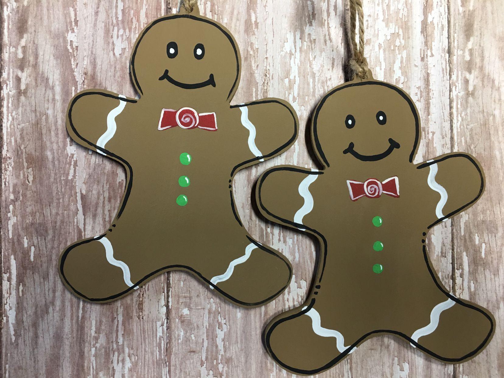 Hand Painted Wood Christmas Ornaments Sawdust Burlap