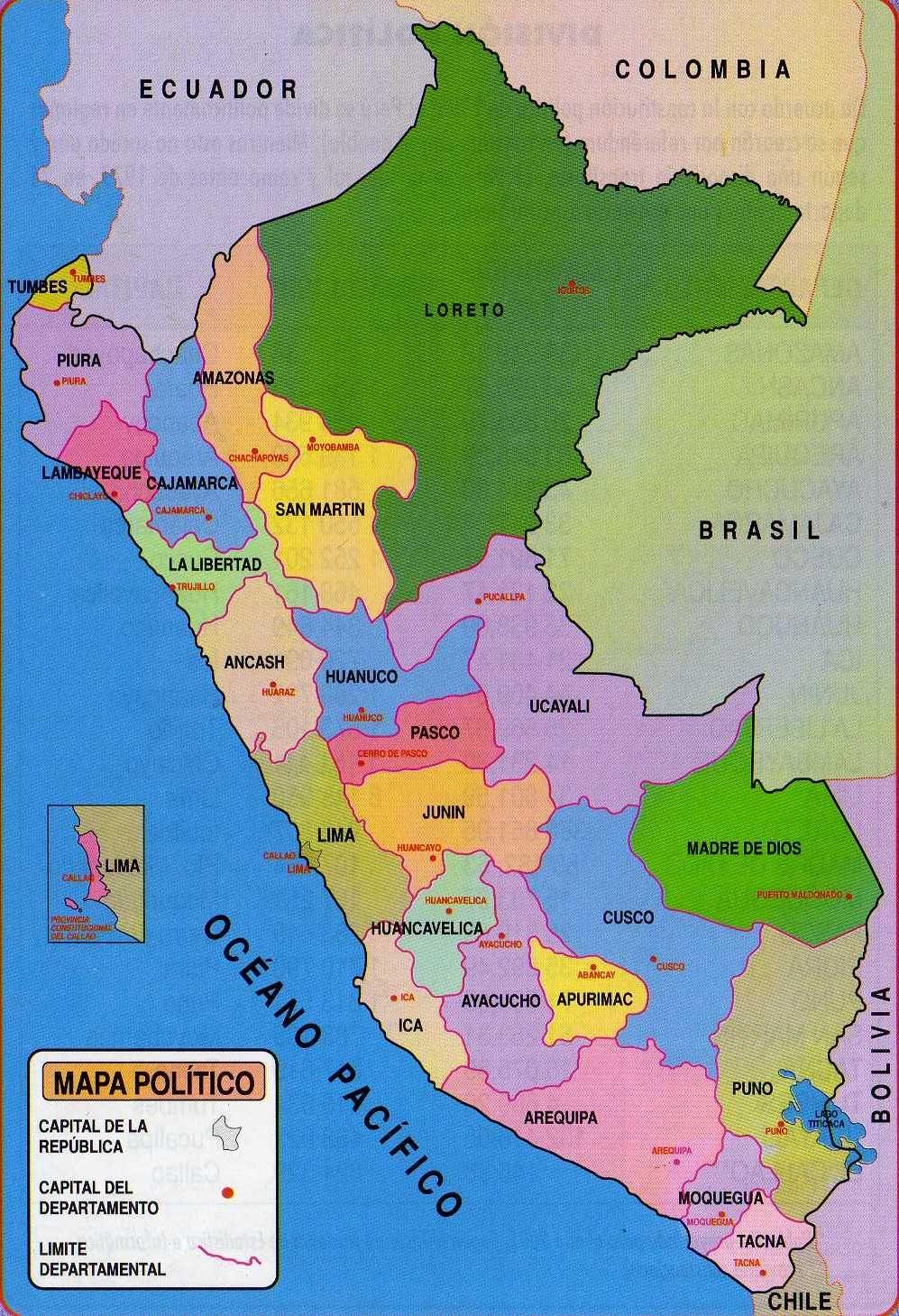 Mapa Politico Del Peru.Pin De Mario Lima En Esdos Del Peru En 2019 Mapas Mapa
