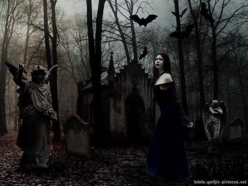 Goth Girl In Cemetery