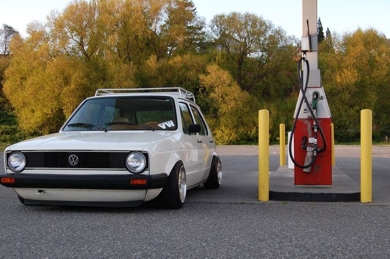 White Low Vw Golf Mk1 With Roof Rack