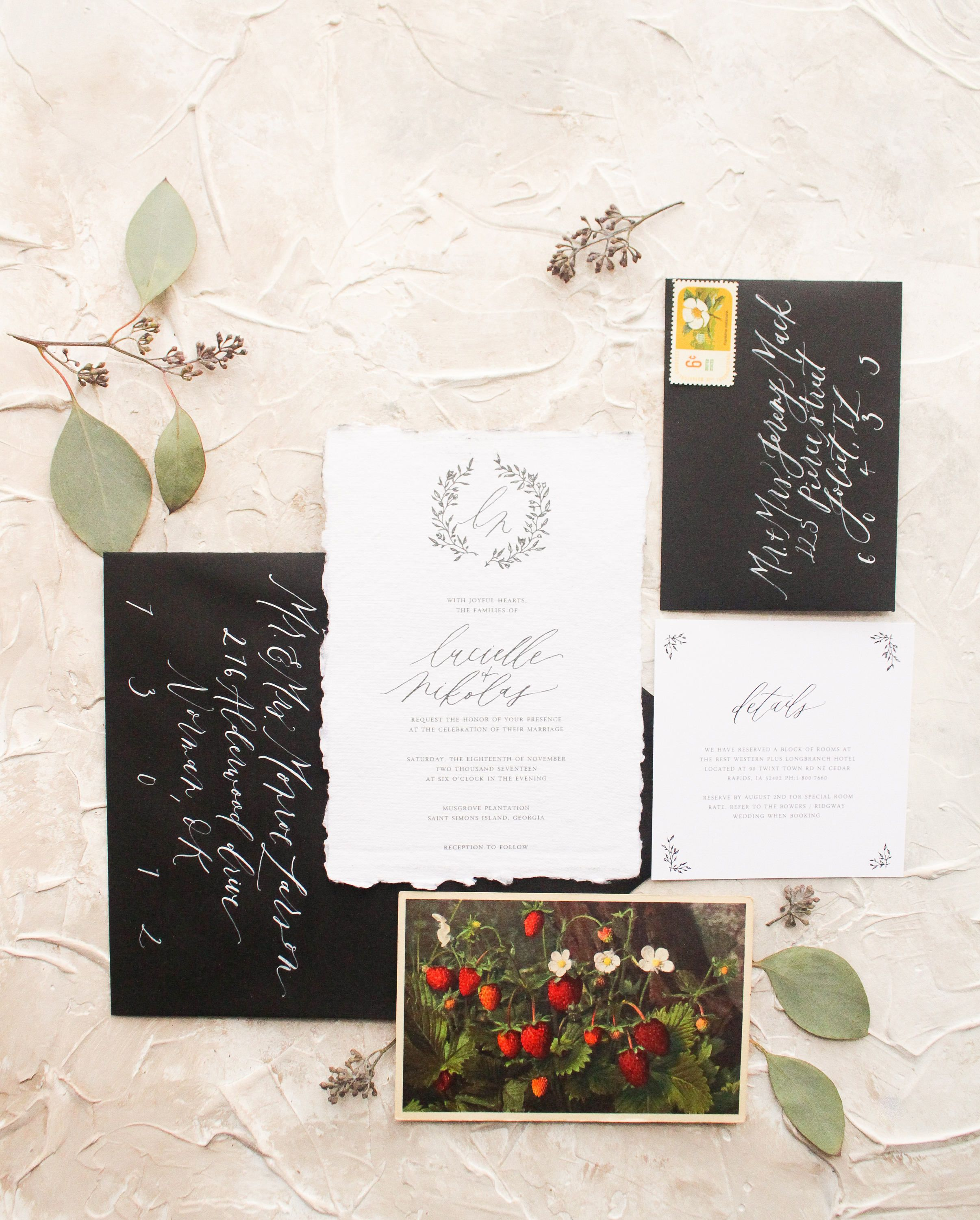 inviting for wedding words%0A This wedding suite features a delicate handdrawn botanical wreath  containing the bride and grooms