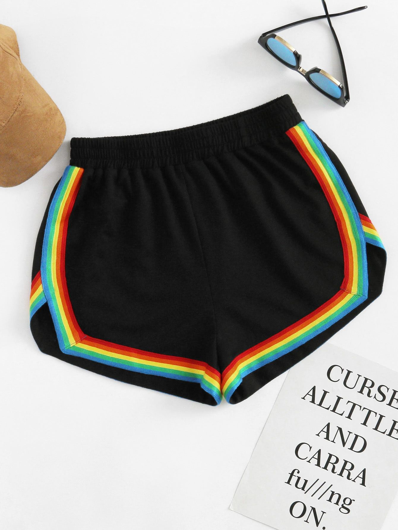 78b60dc5f5 Rainbow Tape Trim Dolphin Shorts | MakeMeChic.COM in 2019 | Clothes ...