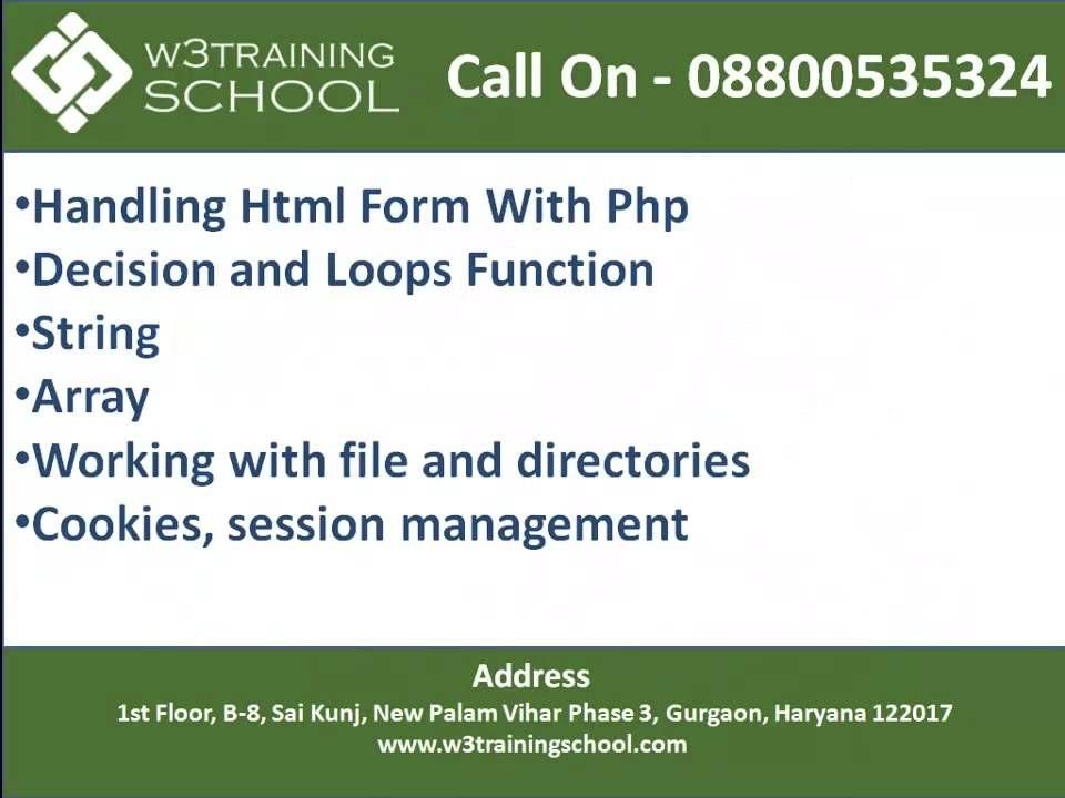 Php training institute in Gurgaon - W3training School | Web