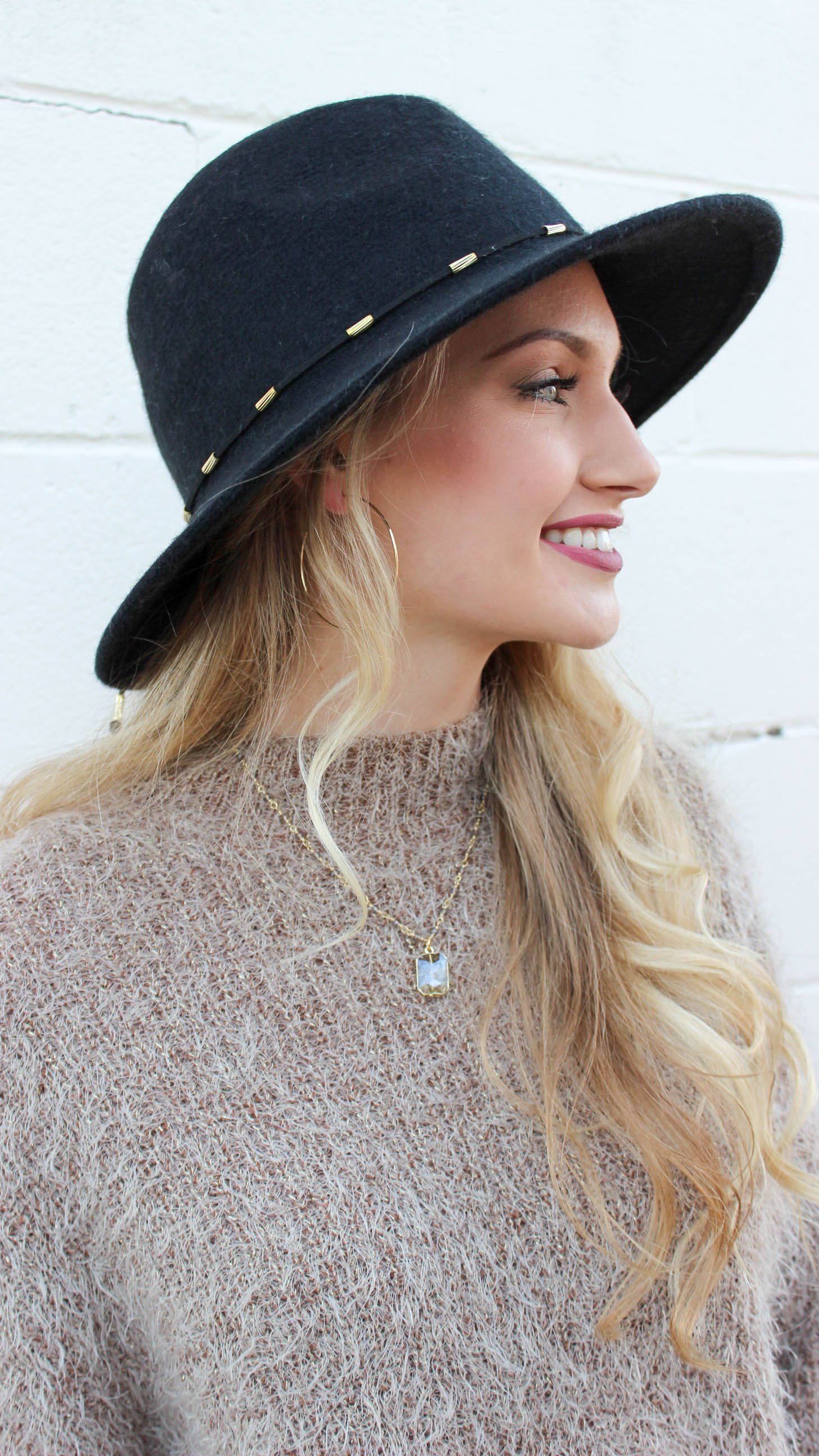 eddb46ea996e5 This classic Brixton-style wide brim hat is 100% wool with gold beaded  leather detailing to accent. Find your nearest coffee shop