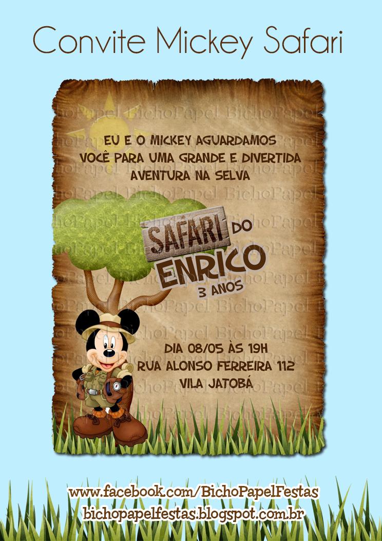 22d758a3fe Convite Mickey Safari Decoração Mickey Safari