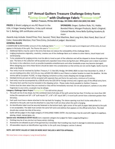 Rules for the New 13th Annual Quilters Treasure Challenge ending 12 - technical writer resume sample