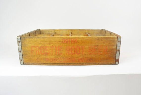 Vintage Soda Crate Root Beer Crate 1966 Frosties by Vintassentials