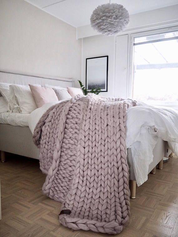 Chunky Knit Blanket Premium Merino Wool Blanket Chunky Knit