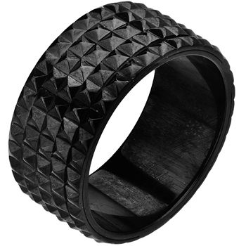 Special Offers Available Click Image Above: Size 9 -inox Jewelry Stainless Steel Black Pvd Spinner Pyramid Stud Ring