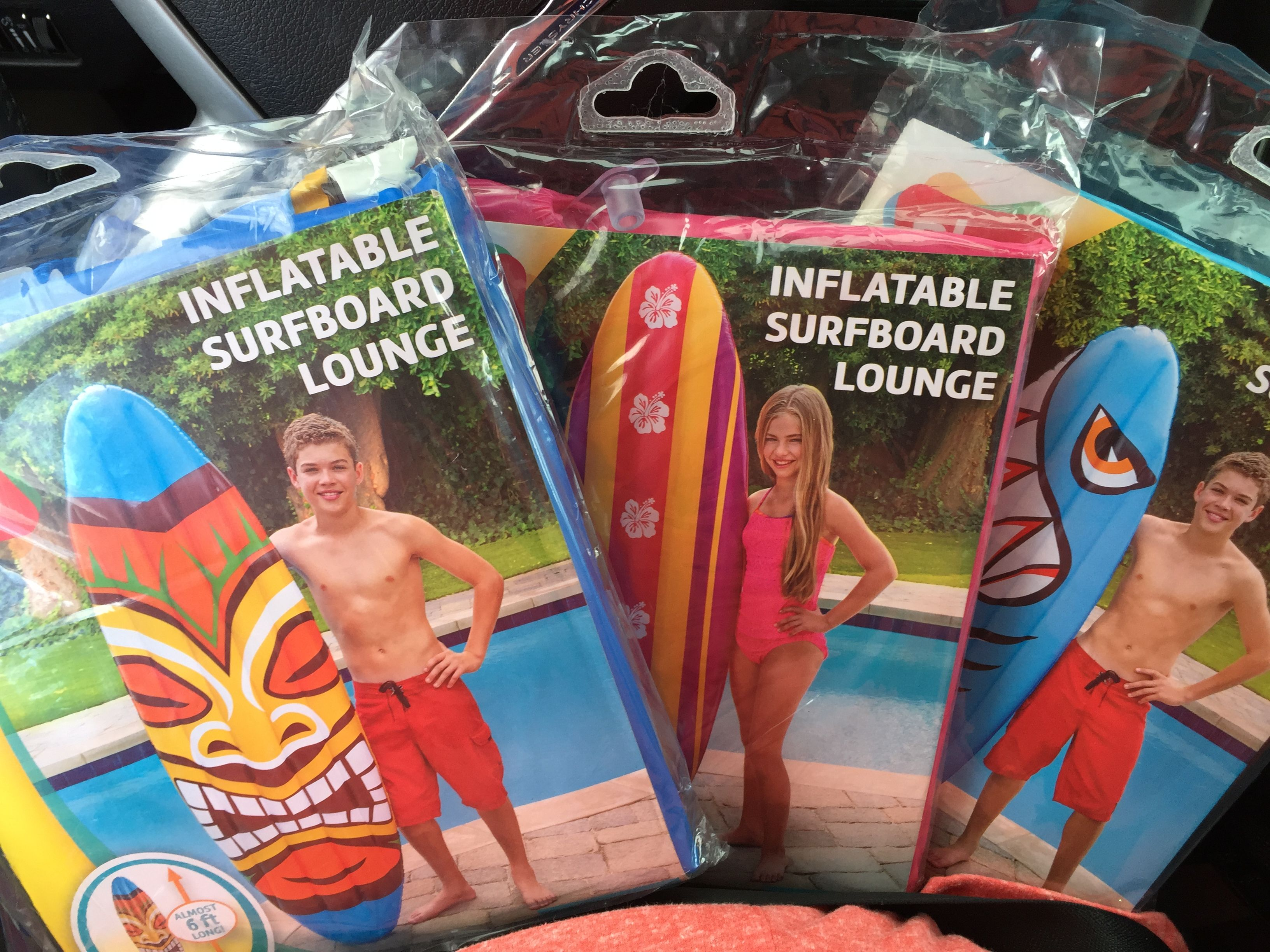 Wow!  Look what I found at Walmart this morning. Large inflatable surfboards. Under $6.