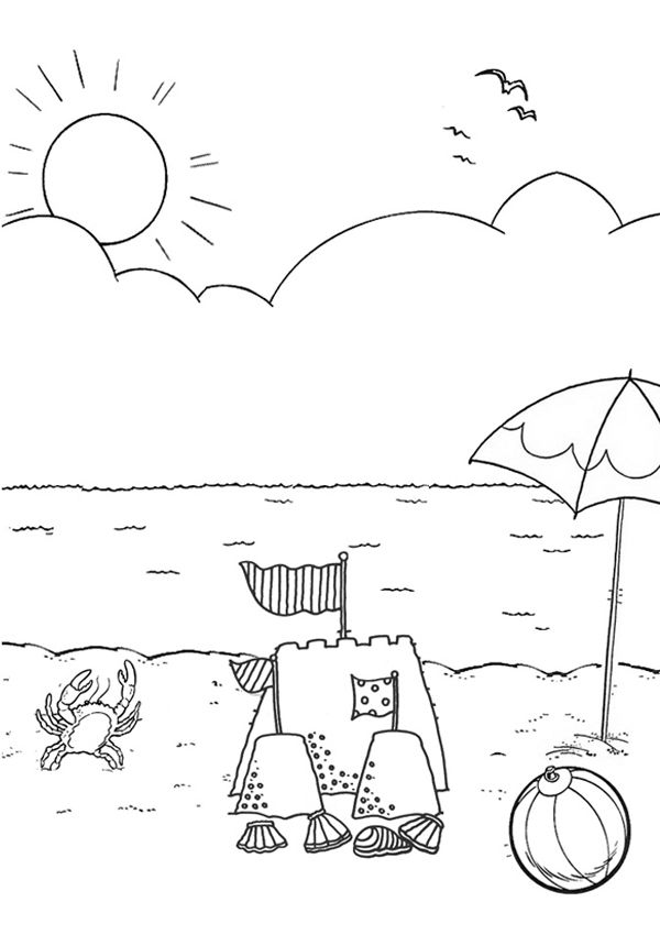 Free Online Beach Colouring Page