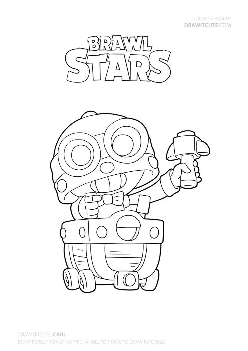 Carl Brawler Brawlstars Fanart Howtodraw Coloringpages Star Coloring Pages Drawing Tutorial Coloring Pages