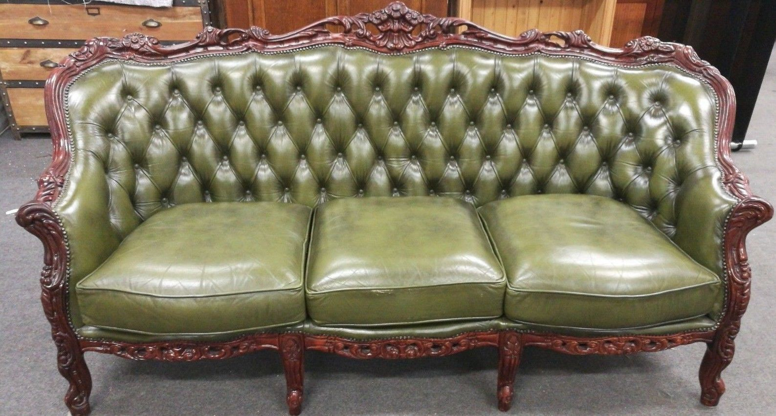 louis xv rococo chesterfield style bottle green leather 3 seater rh pinterest at