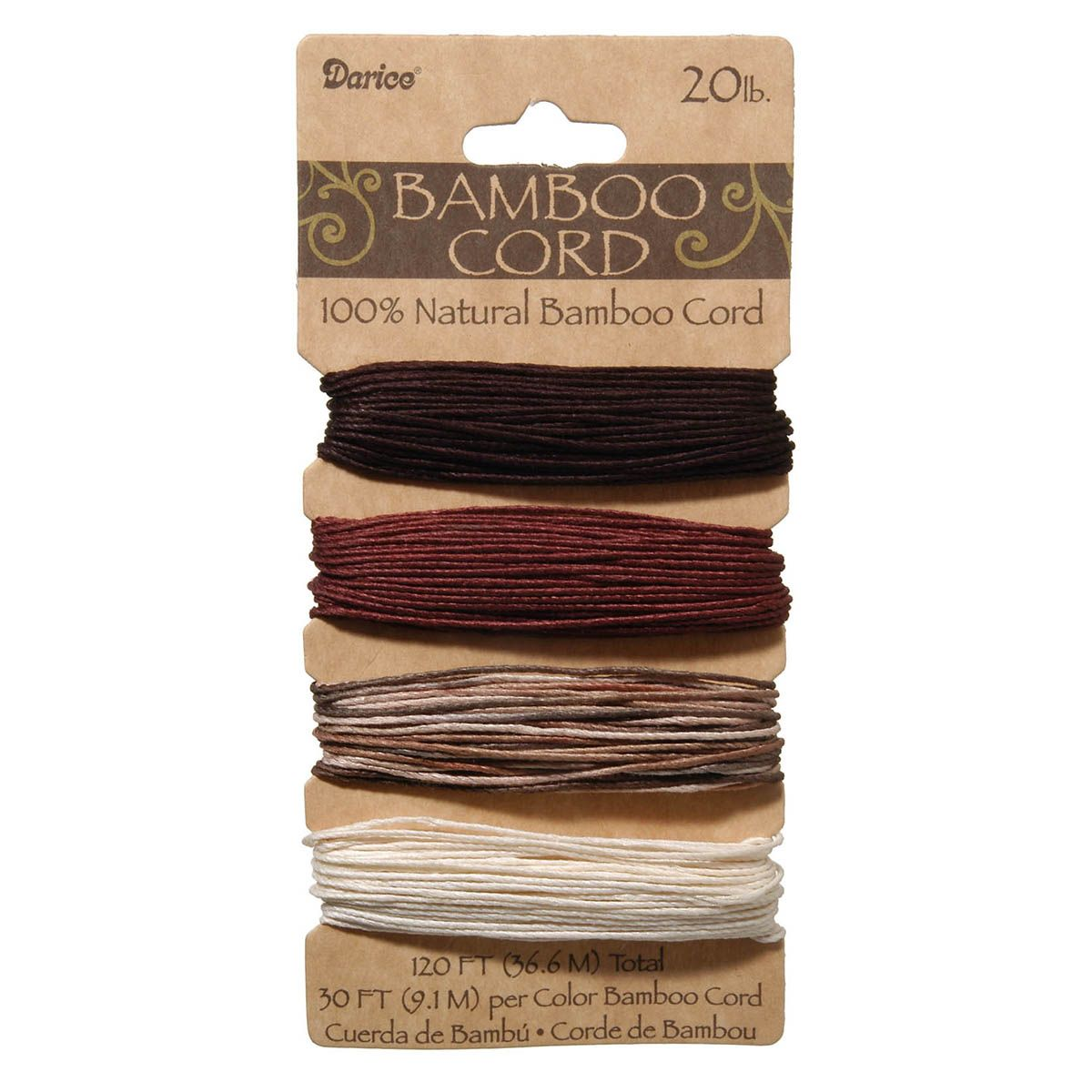 Natural Bamboo Cord Earthy Colors 120ft 20lb Joann Earthy Colors Bamboo Biodegradable Products