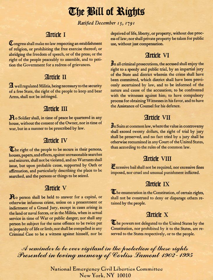 Dec. 15, 1791. The first ten amendments to the U.S. Constitution -- The Bill of Rights -- went into effect after ratification by Virginia.