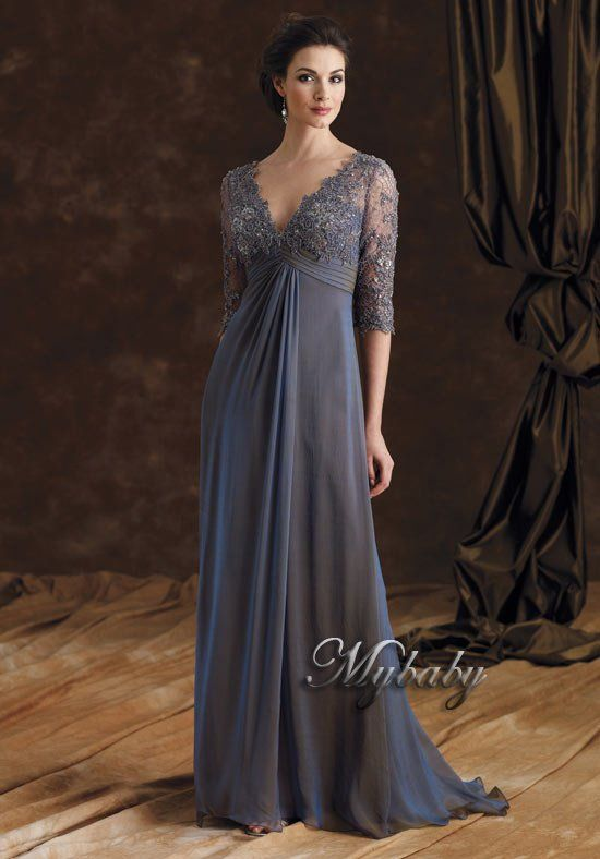 2408686025bd9 Aliexpress.com : Buy Sheath V Neck Lace Embroidered Beaded Half Sleeve  Chiffon Floor Length Special Occasion Gowns