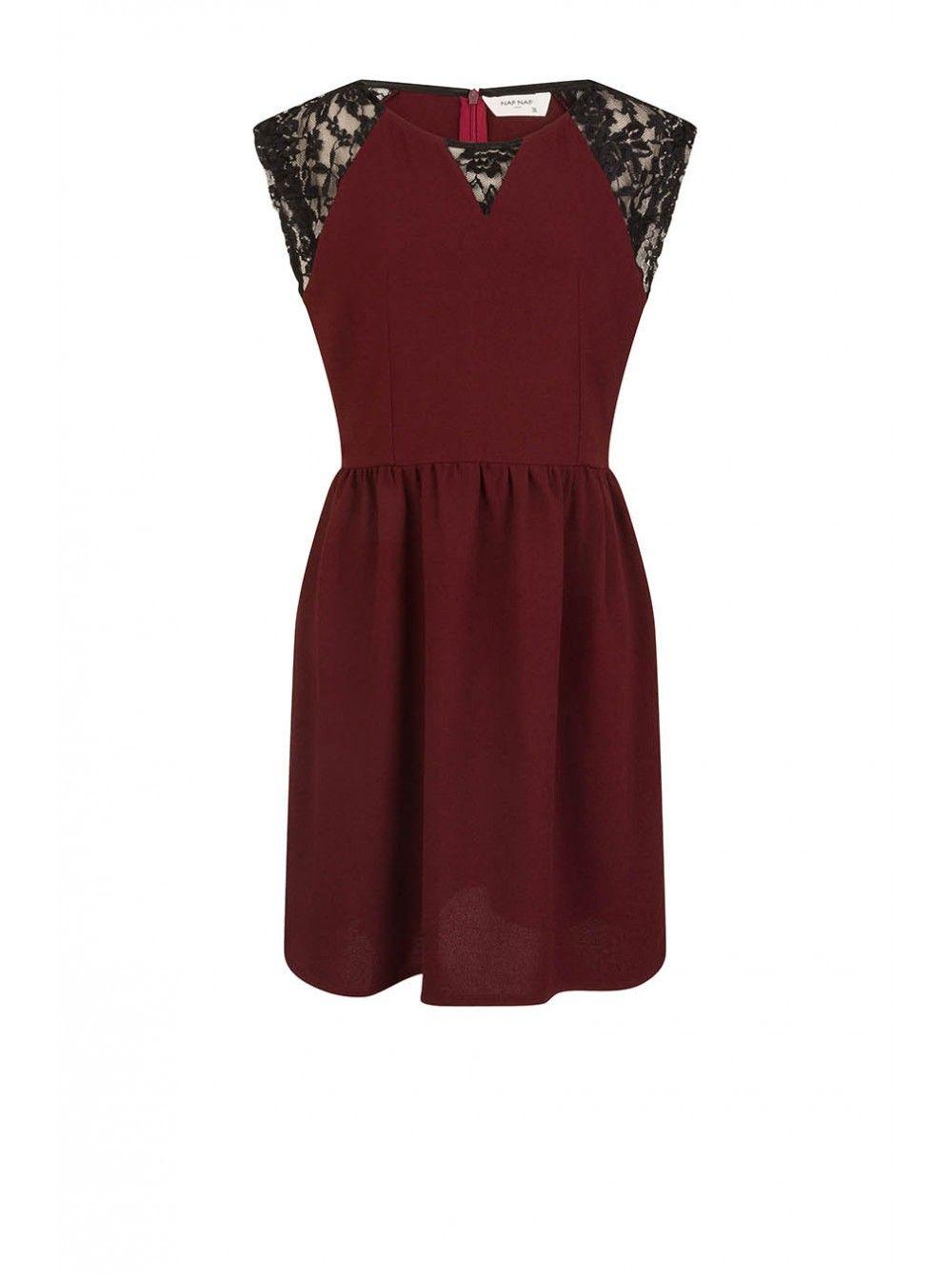 cf26c2963a8bf3 Naf naf nouvelle co h15 robe plissée à dentelle rouge burgundy noir ...