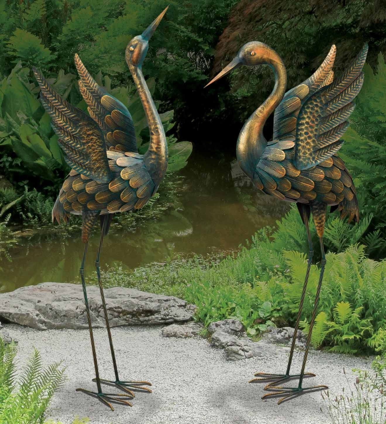 Chsgjy large copper patina flying crane pair sculpture