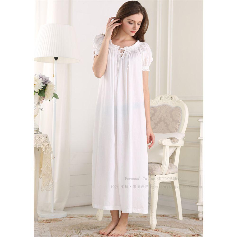 2017 Promotion Princess Nightdress Solid Cotton Sleepwear Round Neck ...